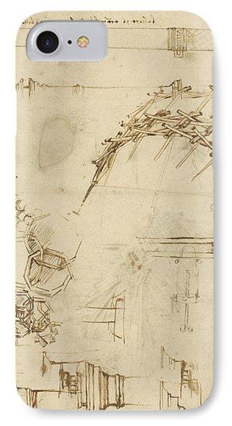 Screw Breech Bombard Decorative Geometrical Drawings Framework Of Self Supporting Military Bridge  IPhone Case