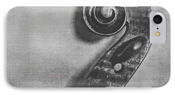 Violin iPhone 8 Case - Scroll In Black And White by Emily Kay