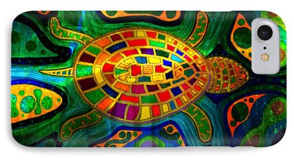 Sea Turtle - Abstract Ocean - Native Art IPhone Case
