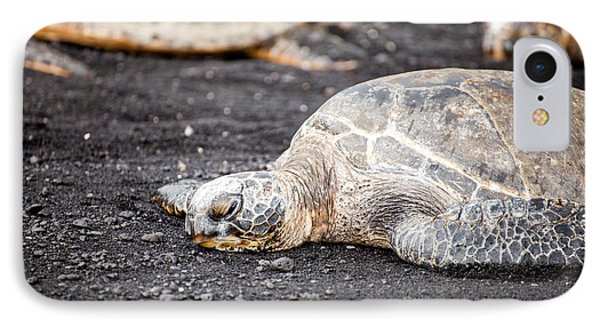 Sea Turtle On Black Sand IPhone Case