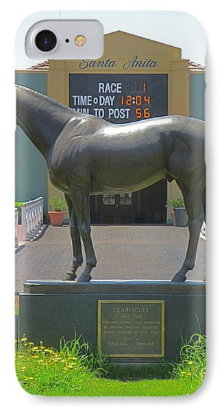 Seabiscuit Statue At Santa Anita Race Track  IPhone Case