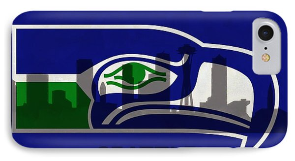 Seattle Seahawks On Seattle Skyline IPhone Case