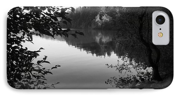 Second Lake Padden Reflection In Black And White  IPhone Case