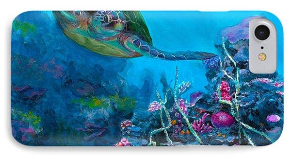 Secret Sanctuary - Hawaiian Green Sea Turtle And Reef IPhone Case