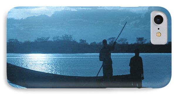 Serenity Of The Nature In Congo 2 Boat Men Calling It A Day At The Sunset Who Knew It Could Be So Pe IPhone Case