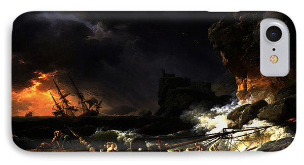 IPhone Case featuring the digital art Shipwreck In A Thunderstorm by Joseph Vernet