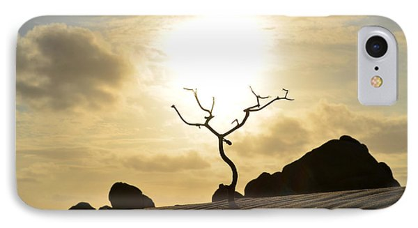 Silhouetted Tree At Dawn In Aruba IPhone Case