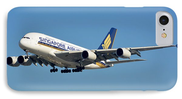 Singapore Airbus A380-841 9v-skn Los Angeles International Airport January 19 2015 IPhone Case