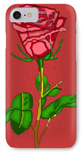 Single Red Rose With Red Background IPhone Case