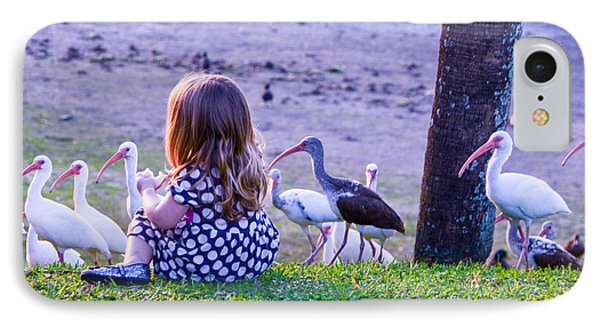 Sitting Girl With Ducks IPhone Case