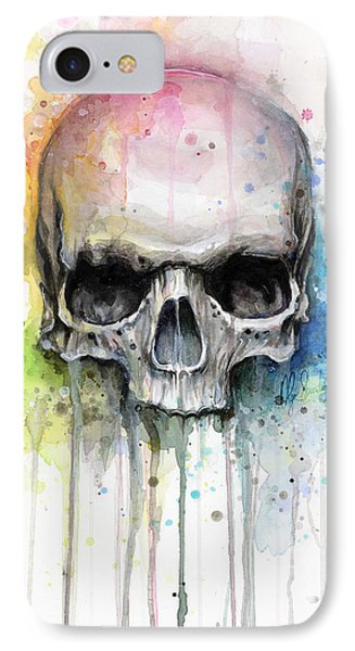 Print iPhone 8 Case - Skull Watercolor Painting by Olga Shvartsur