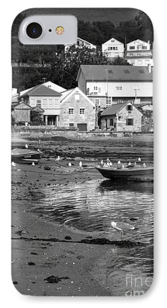 Small Boats And Seagulls In Galicia Bw IPhone Case