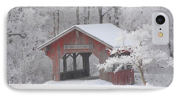 Small Covered Bridge On A Frosty Morning IPhone Case