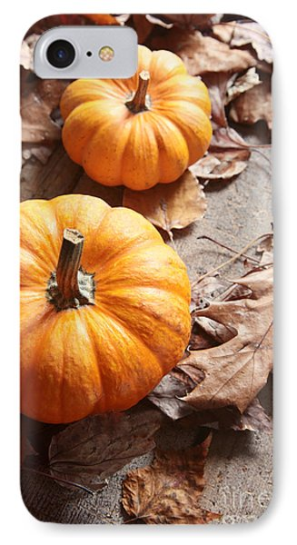 Small Pumpkins On Fall Leaves IPhone Case