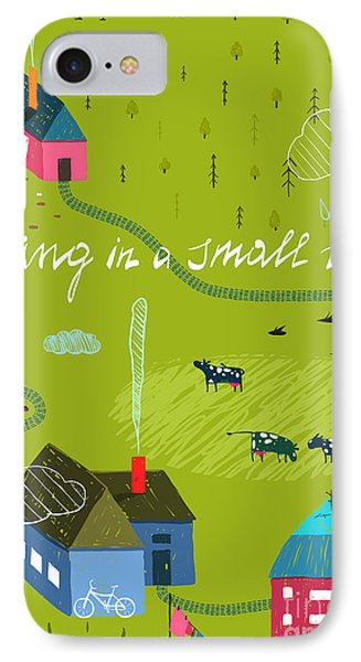 Small iPhone 8 Case - Small Town Or Village With Forest And by Popmarleo