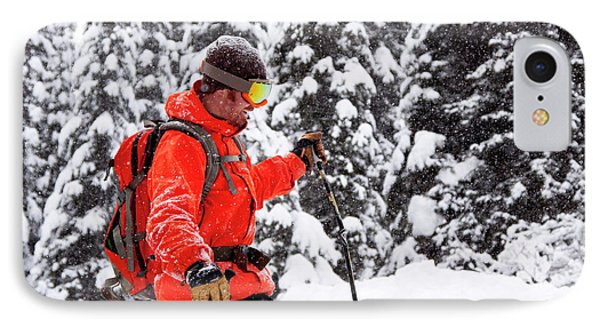 Knit Hat iPhone 8 Case - Smiling Male Skier On A Snowy Landscape by Craig Moore