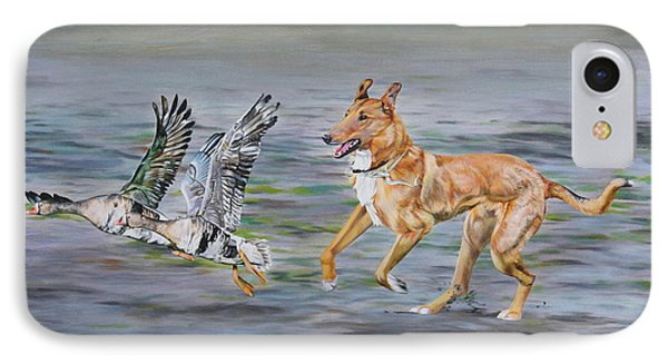 Smooth Collie Trying To Herd Geese IPhone Case