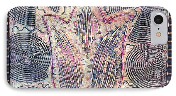 Snakes By The Tulip By Alfredo Garcia Art - Original Mixed Media Modern Abstract IPhone Case