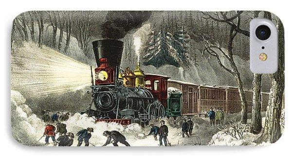 Snowbound Locomotive 1871 IPhone Case