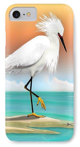 Snowy Egret White Heron On Beach IPhone Case