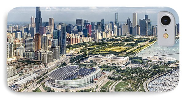 Helicopter iPhone 8 Case - Soldier Field And Chicago Skyline by Adam Romanowicz