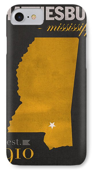 Southern Mississippi Golden Eagles Hattiesburg College Town State Map Poster Series No 099 IPhone Case