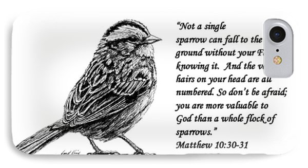 Sparrow Drawing With Scripture IPhone Case