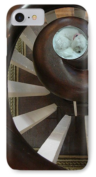 Spiral Railing And Puppy IPhone Case
