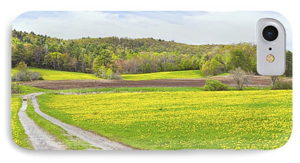Spring Farm Landscape With Dirt Road And Dandelions Maine IPhone Case