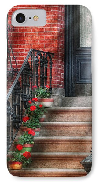 Spring - Porch - Hoboken Nj - Geraniums On Stairs IPhone Case
