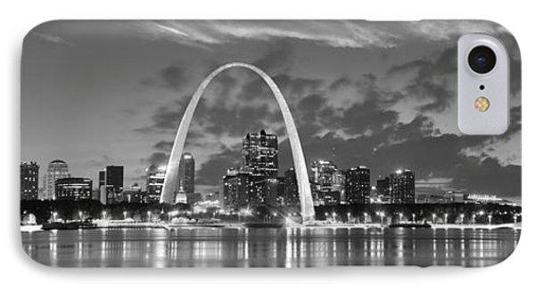 St. Louis Skyline At Dusk Gateway Arch Black And White Bw Panorama Missouri IPhone Case