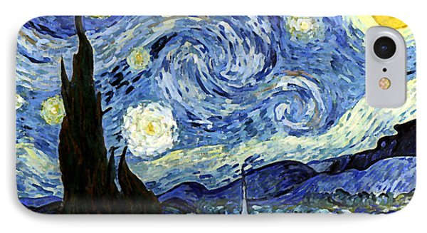 IPhone Case featuring the digital art Starry Night Reproduction Art Work by Vincent van Gogh