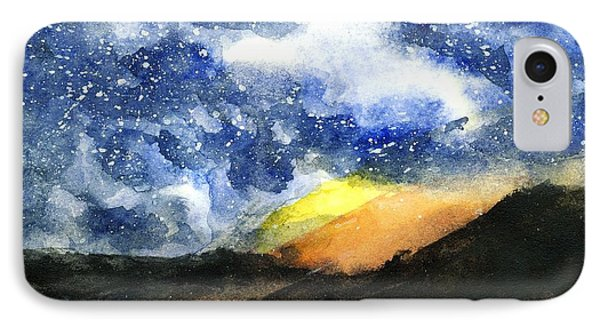 Starry Night With Fire In Santa Monica Mountains IPhone Case
