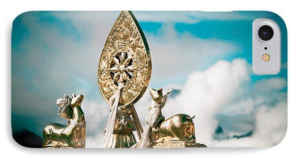 Stautes Of Deer And Golden Dharma Wheel IPhone Case