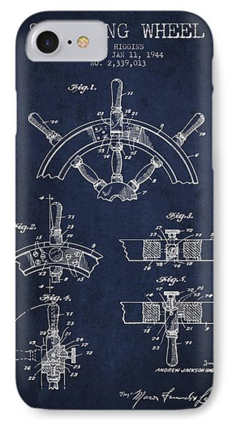 Steering Wheel Patent Drawing From 1944  - Navy Blue IPhone Case