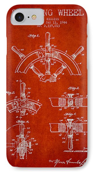 Steering Wheel Patent Drawing From 1944  - Red IPhone Case