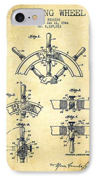 Steering Wheel Patent Drawing From 1944  - Vintage IPhone Case