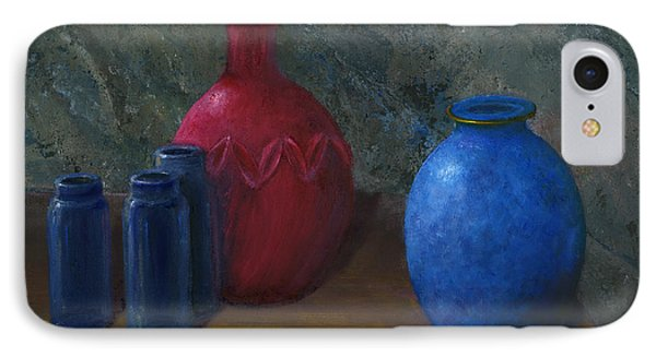 Still Life Art Blue And Red Jugs And Bottles IPhone Case