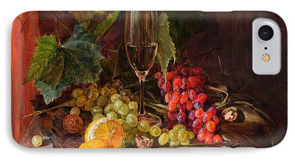Still-life With A Glass Of Wine And Grapes IPhone Case