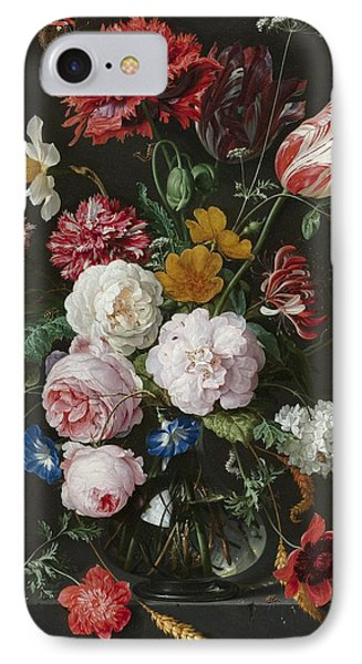 Still Life With Fowers In Glass Vase IPhone Case