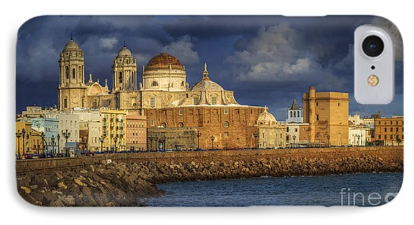 Stormy Skies Over The Cathedral Cadiz Spain IPhone Case