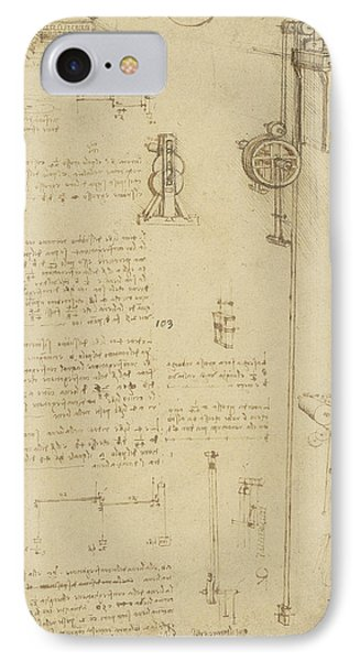 Study And Calculations For Determining Friction Drawing With Notes On Gardens Of Milanese Palace IPhone Case