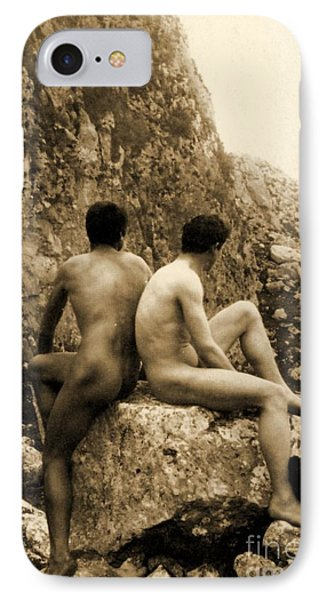 Study Of Two Male Nudes Sitting Back To Back IPhone Case