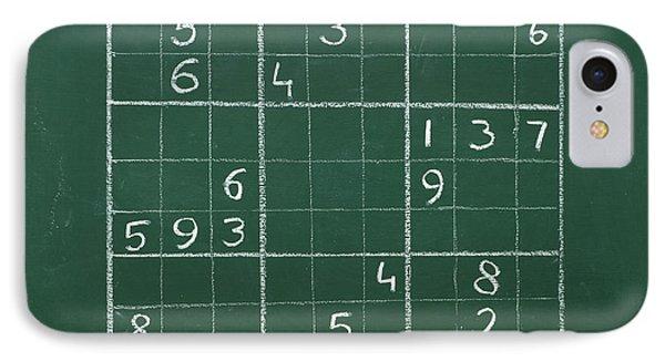 Sudoku On A Chalkboard IPhone Case