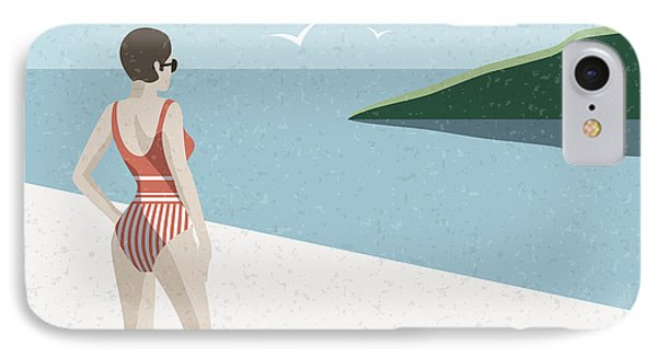 Beautiful Nature iPhone 8 Case - Summer Holidays Retro Poster Woman The by Antartstock
