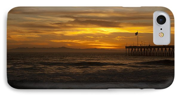 Sun Setting Behind Santa Cruz With Ventura Pier 01-10-2010 IPhone Case