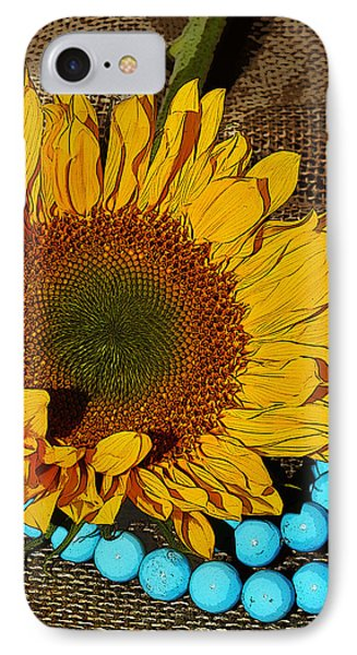 Sunflower Burlap And Turquoise IPhone Case
