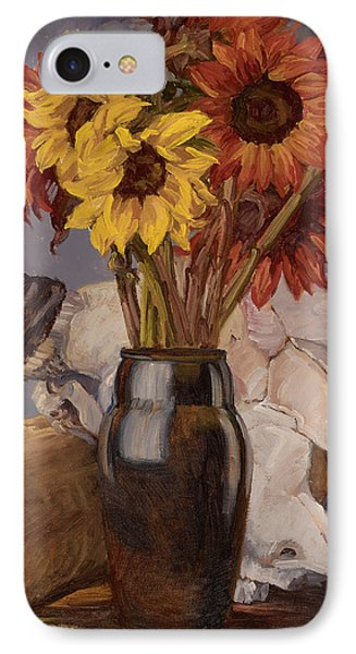 Sunflowers And Buffalo Skull IPhone Case