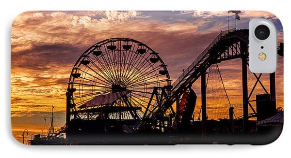 Sunset Amusement Park Farris Wheel On The Pier Fine Art Photography Print IPhone Case