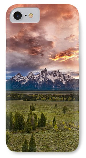 Sunset Over The Tetons  IPhone Case